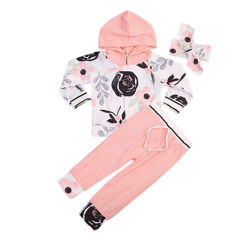 2017 Autumn Toddler Kid Girls Clothes Floral Long Sleeve Hooded T-shirt Tops+Pant Trouser Headband 3PCS Bebek Giyim Baby Clothes mother daughter coffee color trumpet sleeve long t shirt family clothes toddler girls autumn o neck tops mom son fashion t shirt