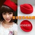 Lã aeromoça Beret Caps mulheres Red Air Hostess chapéus Pillbox chapéus azul roxo frete grátis SDDW-009