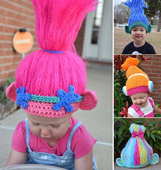 Trolls Wig Cosplay Knitting Hat Kids Handmake Halloween Gifts Cosplay Wig Hand Knit Party Hats For Kids 3-6years