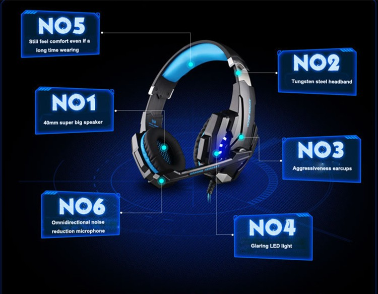 G9000 USB 7.1 Surround Sound Version Game Gaming Headphone Computer Headset Earphone Headband with Microphone LED Light (1)