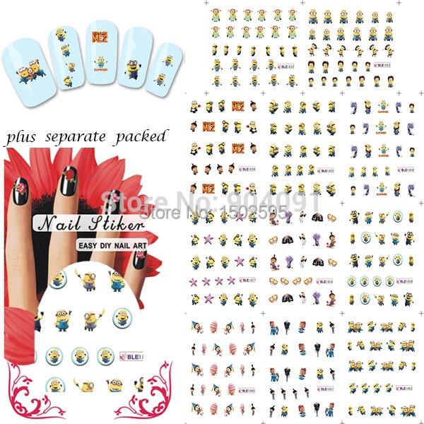 2014 NUEVA 50 Hoja/LOT Minions Cartoon Accesorios DEL ARTE DEL CLAVO de la Historieta Serie Del Tatuaje Del Clavo, Decoración de uñas de Arte de forma individual embalaje