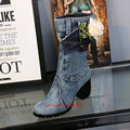 Zapatos Mujer Thigh High Blue Denim Boots Chunky High Heels jeans Botines Mid-calf Western Style Winter Shoes Women