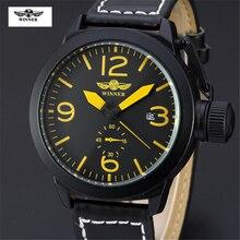 2016 de La Moda Marca de Relojes Ganador Manera y Ocasional Vestido de La Correa de Cuero Mecánico Automático Auto Fecha Reloj de Los Hombres