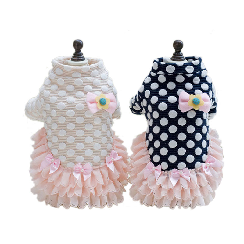 Cute Dot Pet Dog Princess Dress Puppy Thicken Skirt Tutu Dress for Small Dog Cat Chihuahua Wedding Clothes XS S M L XL 2XL