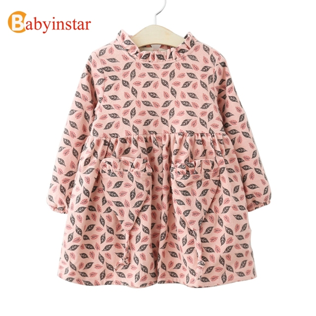 Babyinstar/Детские платья для Обувь для девочек толстые теплые Фирменное платье для девочек модные осень-зима одежда Детский костюм Детское платье