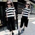 Estilo europeu de moda verão grande conjunto de roupas da menina bonito listrado de algodão de manga curta t-shirt + calças de pernas Largas calças para roupa dos miúdos