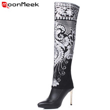 MoonMeek Knee high boots embroidery genuing leather women bo