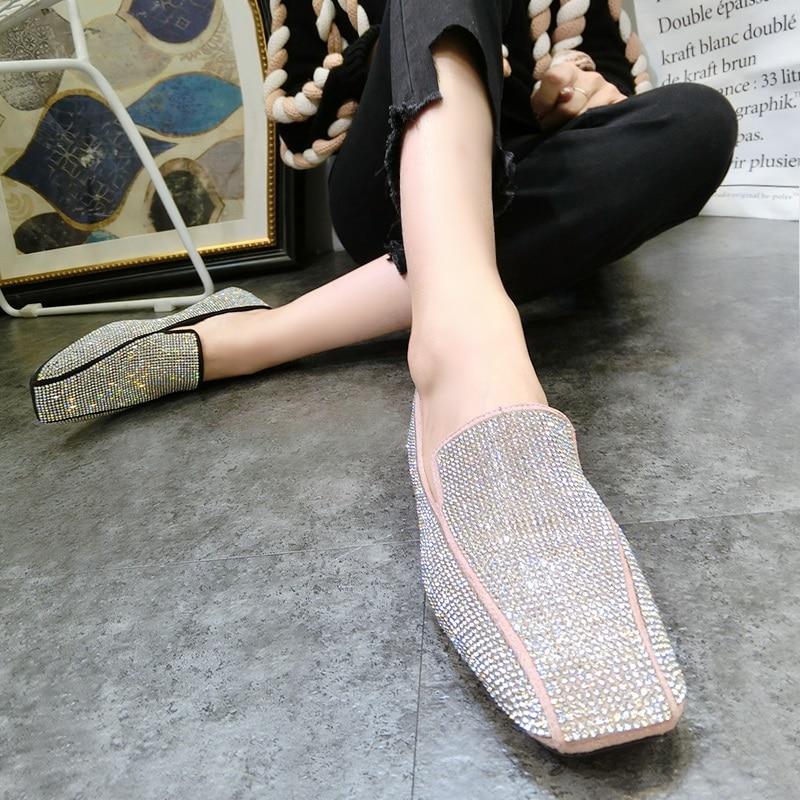 Scarpe Donne pink 2018 Estate Sandali beige black Basse Bling Pista Streetwear Mocassini Punta Runway Di brown Quadrata Partito Khaki Superficiale Cristallo Del Femminile WwqIFxqY