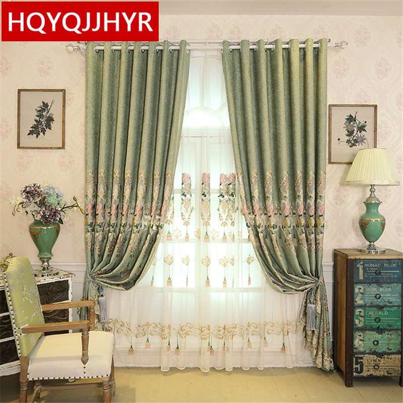 Luxurious thickening European embroidery Blackout curtains for Living Room Windows with high quality  Voile Curtain Bedroom