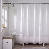 UFRIDAY PEVA Translucent Shower Curtain For Bathroom Eco Friendly Antibacterial And Mold With Magnetic Waterproof Bath