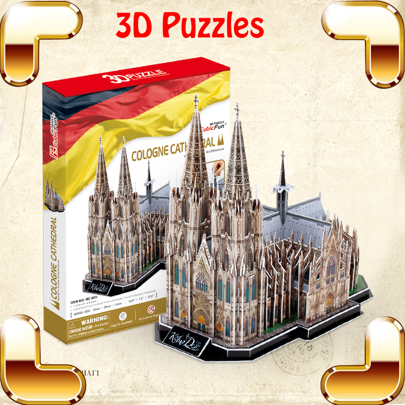 ФОТО New Arrival Gift Cologne Cathedral 3D Puzzles Model Building Kits Simulation Scale Models Believer Present Toys DIY Education