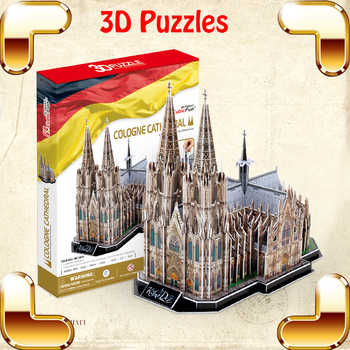 New Arrival Gift Cologne Cathedral 3D Puzzles Model Building Kits Simulation Scale Models Believer Present Toys DIY Education