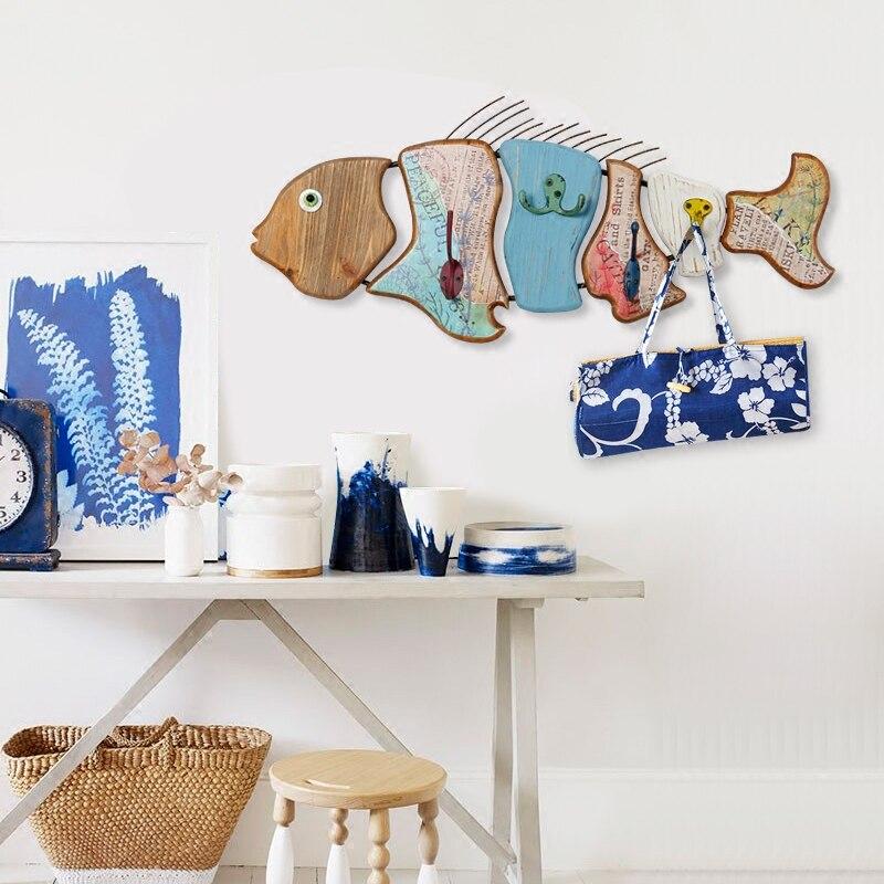 Естественно рыба украшения дерева одежды крюк стены сумка для наушников вешалка ключ Кухня Ванная комната двери Полотенца нержавеющие пол