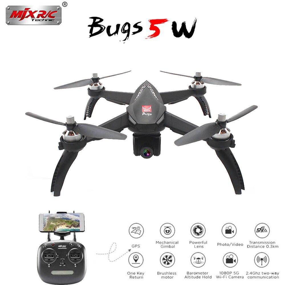 MJX Bugs 5 w 5 w GPS RC Drone avec WIFI FPV 1080 p HD Caméra Auto Retour Suivez-moi mode RC Quadcopter VS MJX Bugs 3 Pro B2W B3H
