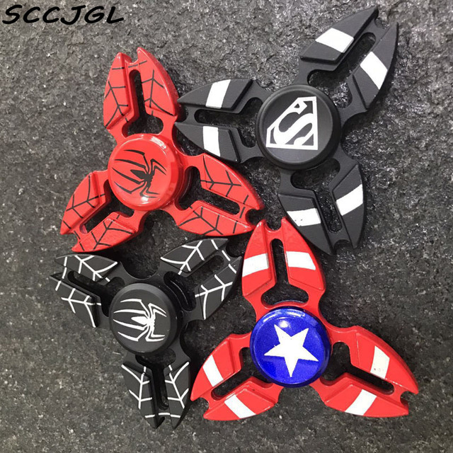 4 colors styles captain america spider man fidget spinner metal hand