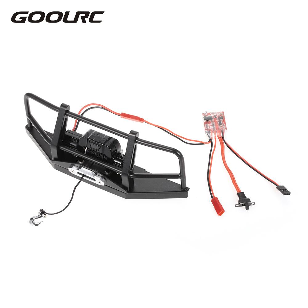 GOOLRC Metal Steel Front Bumper with Simulated Wired Automatic Winch ESC for 1/10 RC 4WD D90 Axial SCX10 Rock Crawler set j40 black steel different trail front bumper w winch plate