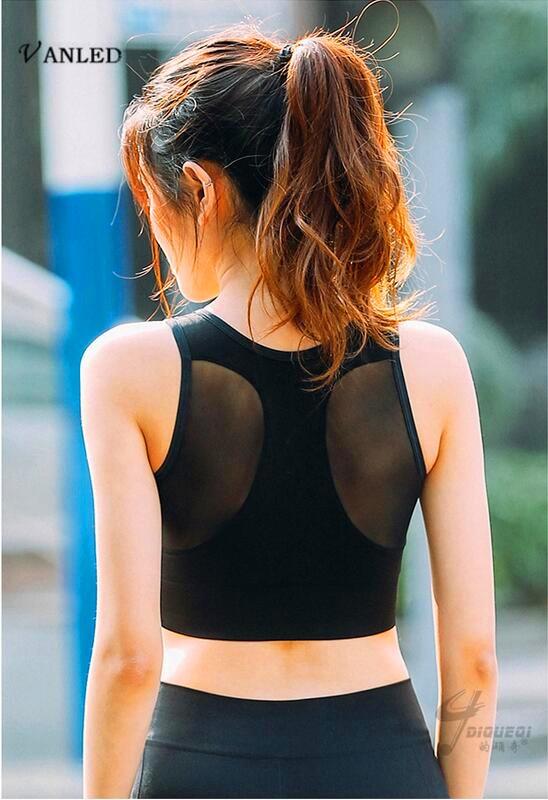 VANLED 2017 New Women Crop Tops Sexy Gauze Splicing Sports Bra Vest Type Shockproof Vadim Underwear