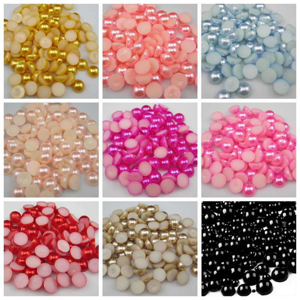 144pcs/lot Size 6mm Pick Colors Resin Half Round Imation Pearls Beads Flatback Nail Art Decorate Diy Free Shipping