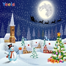 Yeele Vinyl Cartoon Christmas Tree Gift Snow Snowman Baby Photography Backdrop Custom Photographic Backgrounds For Photo Studio