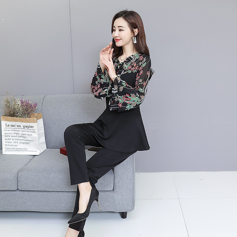 Black Elegant Printed Two Piece Sets Women Flare Sleeve Tunic Tops And Pants Suits Sets OL Style Casual Women's Sets Costumes 36