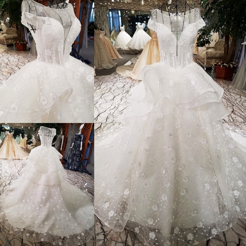 Wedding Dress 2018 The Bridal Short Sleeve O-neck Luxury Embroidery Elegant Sweep Train Sweet Floral Print Noble Ball Gown