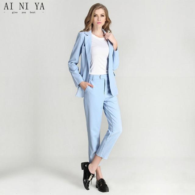 47b57e2445c Для женщин брючный костюм Небесно-Голубой Для женщин женские костюмы для  торжественных случаев классические брюки