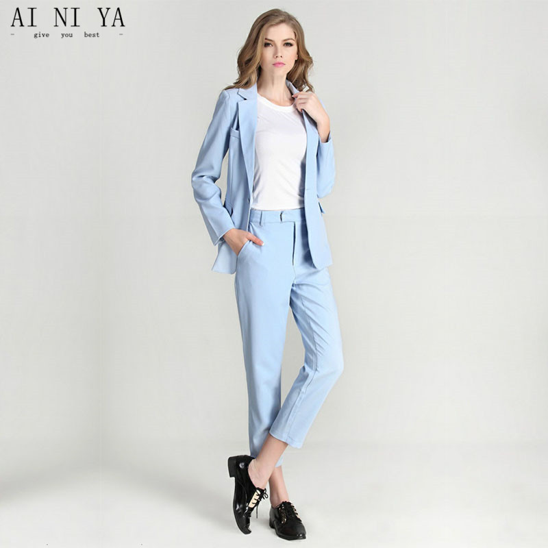 Women Pant Suits Light Sky Blue Women Ladies Formal Suits Tailored Business Office Work Wear Formal Suits Female Trouser Suits