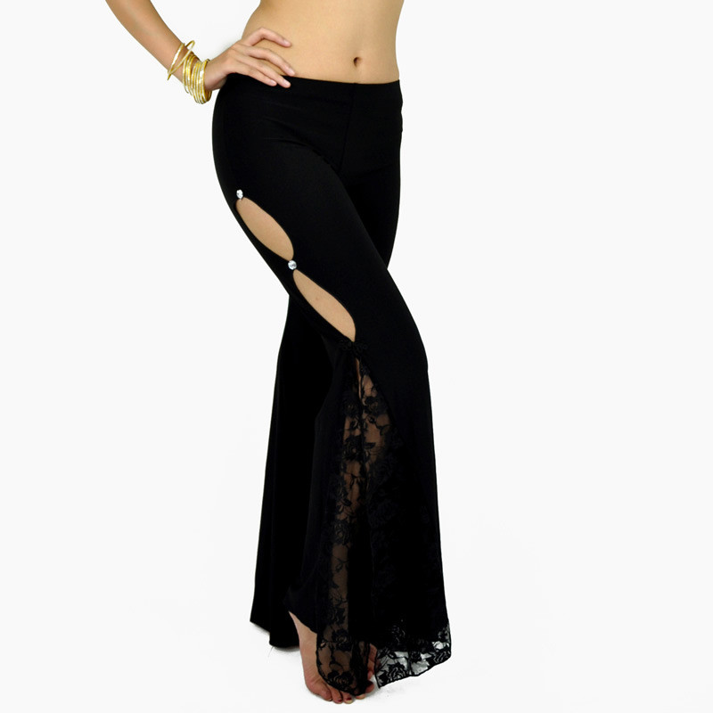 Women Belly Dance Pants Lady Side Slit Lace Practice Senior Crystal Cotton Bellydance Long Flared Trouser Professional Dancewear