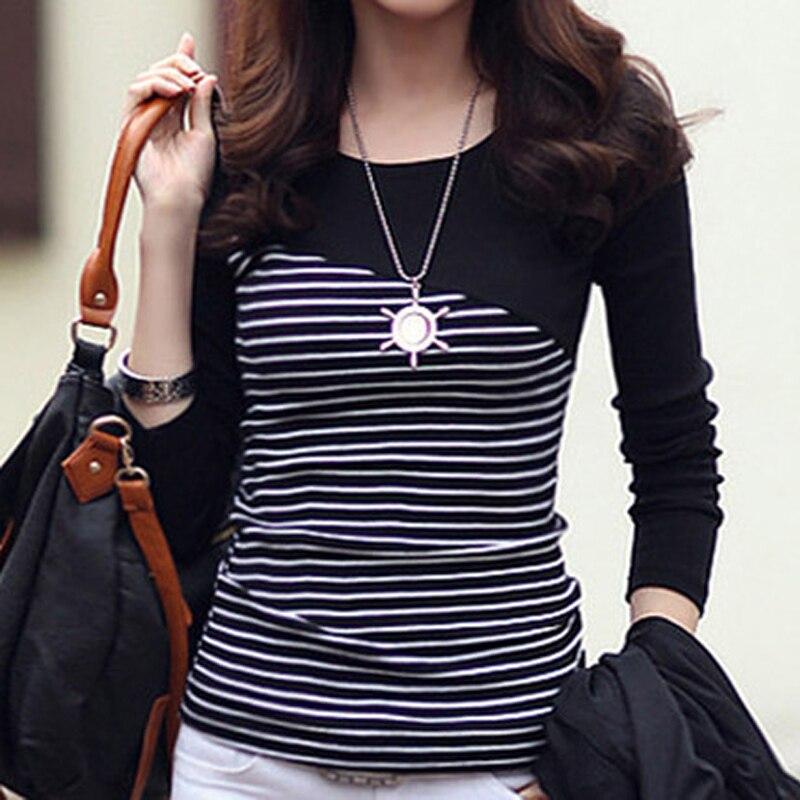 efdfca1a9ba4 Camiseta de Mujer ropa 2019 Camiseta de rayas de manga larga Tops ropa de  Mujer camisetas de algodón Casual camiseta Mujer
