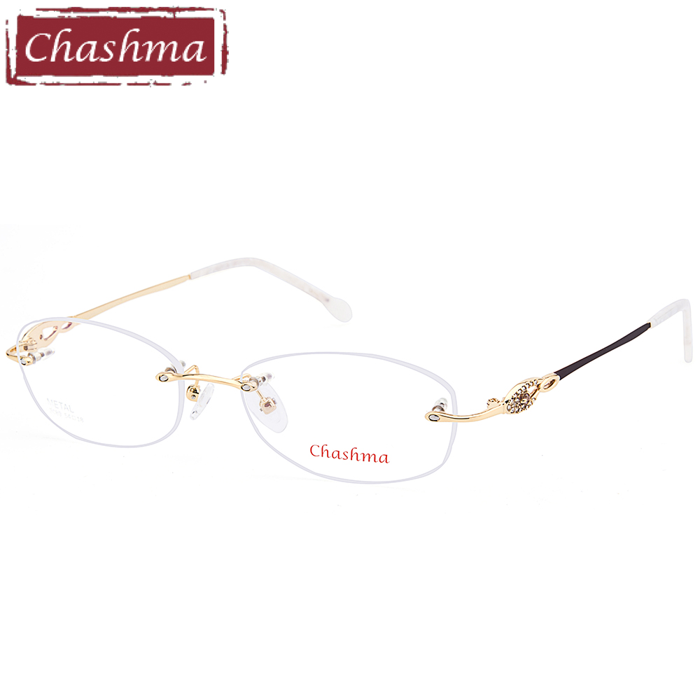 Chashma Brand Women Titanium Eyeglasses Spectacle Semi Rim Ultra Light Myopia Glasses Frame Quality Half Frames Female