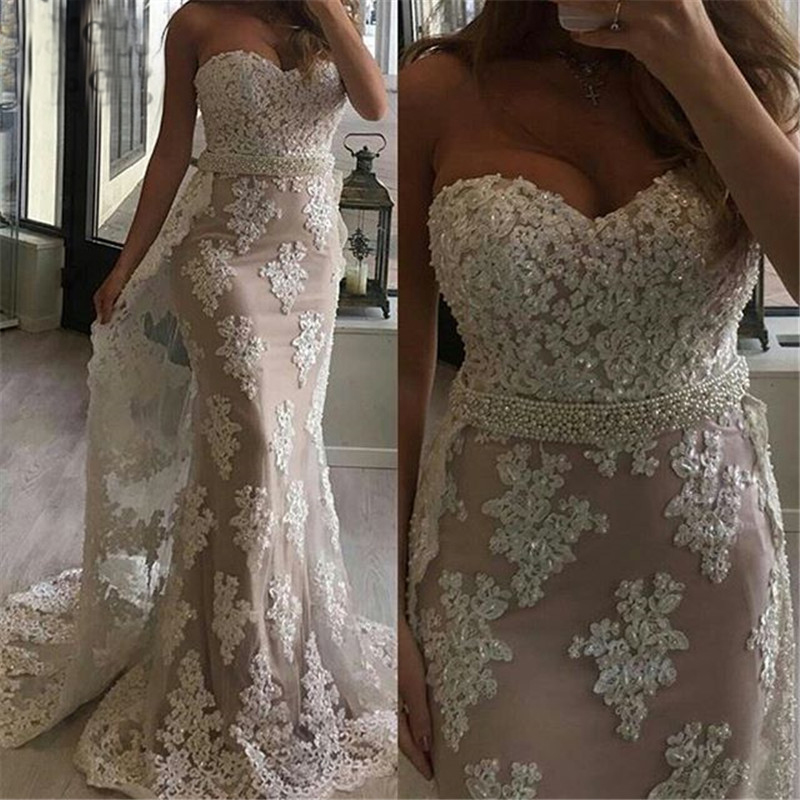 Robe De Soiree 2019 Elegant   Evening     Dresses   Long Mermaid with Detachable Train Sweetheart Saudi Arabic Formal Prom   Evening   Gown