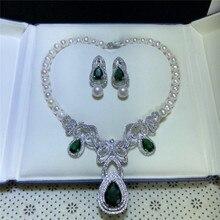 Микро инкрустация зеленый циркон застежка аксессуар роскошный пресноводный жемчуг серьги ожерелье набор модные ювелирные изделия
