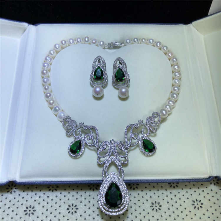 Micro inlay green zircon clasp accessory Luxury freshwater pearl earrings necklace set fashion jewelry
