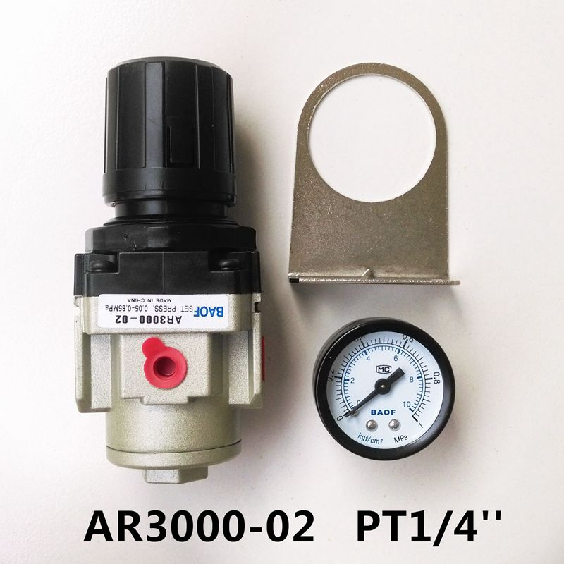 Air Control Compressor Pressure Gauge Relief Regulating Regulator Valve AR3000-02 1/4'' Port Size 1pc air compressor pressure regulator valve air control pressure gauge relief regulator 75x40x40mm