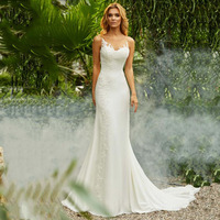 Mermaid Wedding Dress Vintage O Neck Appliques Beach Bride Dress Chiffon Princess Boho Wedding Gown Free Shipping 2019