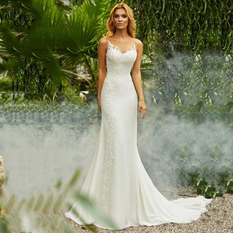 Robe de mariée sirène Vintage o-cou Appliques plage robe de mariée en mousseline de soie princesse Boho robe de mariée livraison gratuite 2019