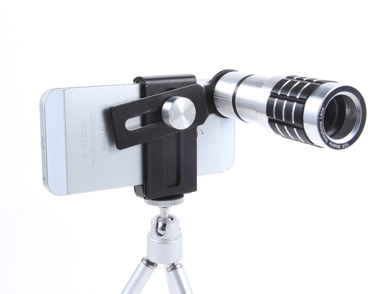 Universal 12X Zoom Phone Camera Lens Telephoto Telescope With Mount Clip Holder Mini Tripod Stand Lens For iPhone Smartphone 15
