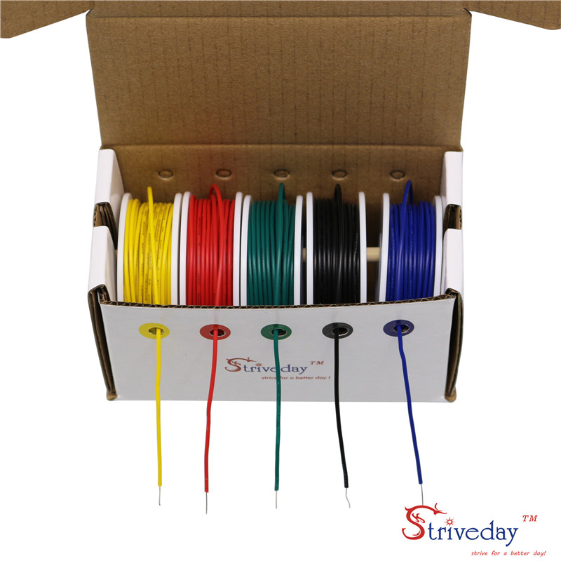 50 meters/box UL 1007 24AWG 5 color Mix Kit 32.8 feet /roll Solid Electrical Wire PVC Cable Line DIY50 meters/box UL 1007 24AWG 5 color Mix Kit 32.8 feet /roll Solid Electrical Wire PVC Cable Line DIY