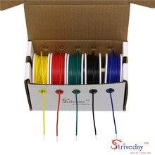 UL 1007 24AWG 50 מטר כבל קו PCB חוט משומר נחושת 5 צבע לערבב מוצק חוטים ערכת חוט חשמל DIY