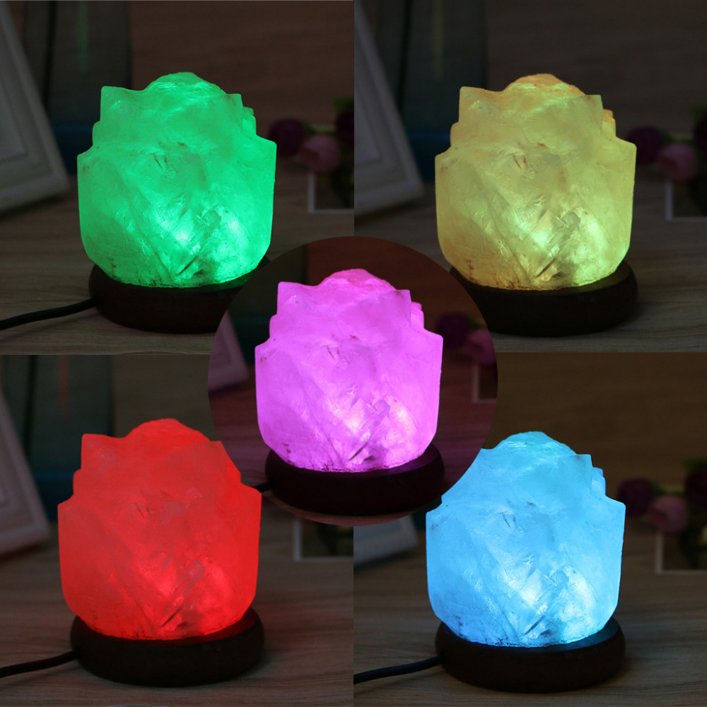 1PC Flower Hand Carved USB Wooden Base Himalayan Crystal Rock Salt Lamp Air Purifier Night Light W315 triangle hand carved usb wooden base himalayan crystal rock salt lamp air purifier night light m15 dropshipping