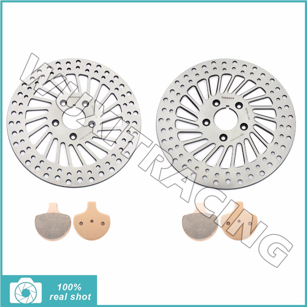 Front Brake Discs Rotors & Pads for HARLEY Sportster 1000 Dyna FXE FXR FLSTN Touring FLHTCI 1340 Low Rider Electra Glide Classic