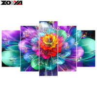 Zhui Star 5D DIY Diamond Embroidery Colorful Flower Diamond Painting Cross Stitch Full Drill Rhinestone Mosaic
