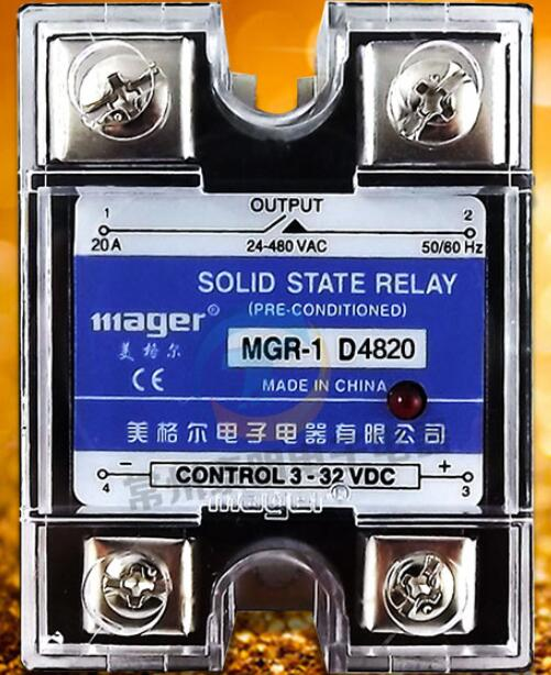 mager Genuine new original  SSR  single-phase solid-state relay 20A 24VDC DC-controlled AC 220VAC MGR-1 D4820 free shipping mager 10pcs lot ssr mgr 1 d4825 25a dc ac us single phase solid state relay 220v ssr dc control ac dc ac