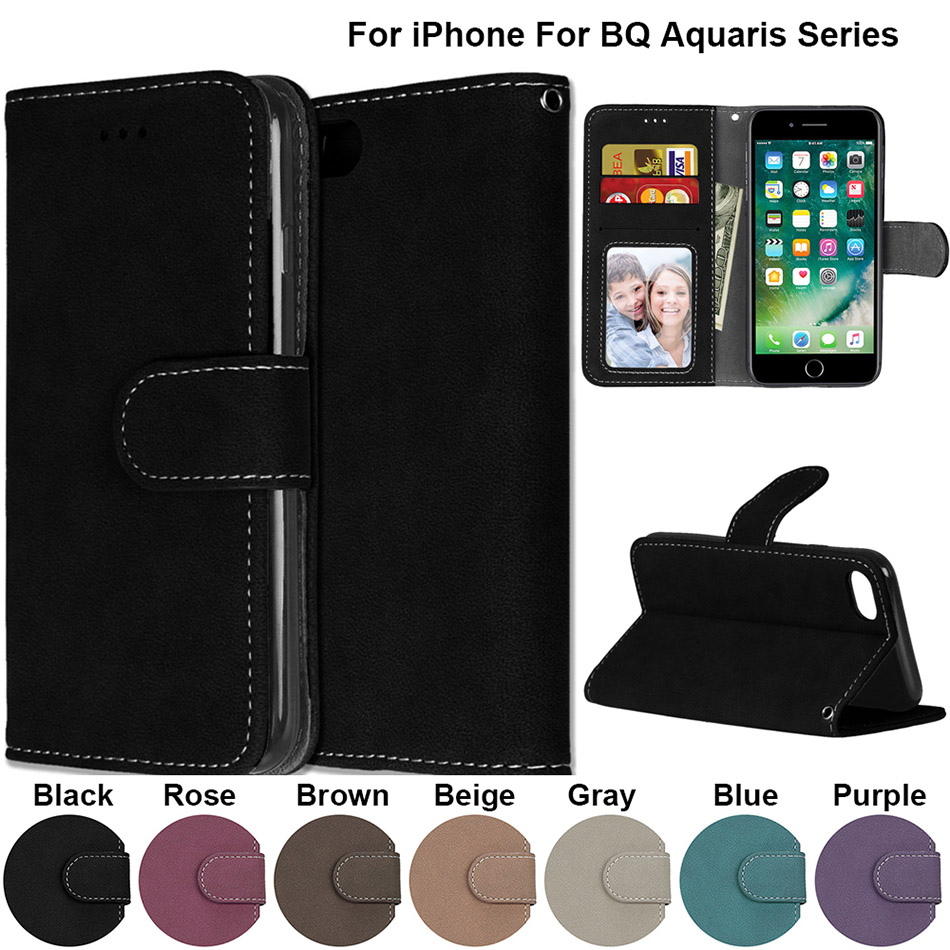 B84 Stand Matte Cover For iPhone X 8 7 4 4s 5 5s SE 6 6S Plus Leather Case Coque For BQ Aquaris E5 4G E4.5 M5 Cases Bag ...