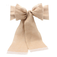 Lace Burlap Chair Sashes Bow Cover Natural Hessian Jute Linen Tie Bowknot Ribbon Party Rustic Wedding