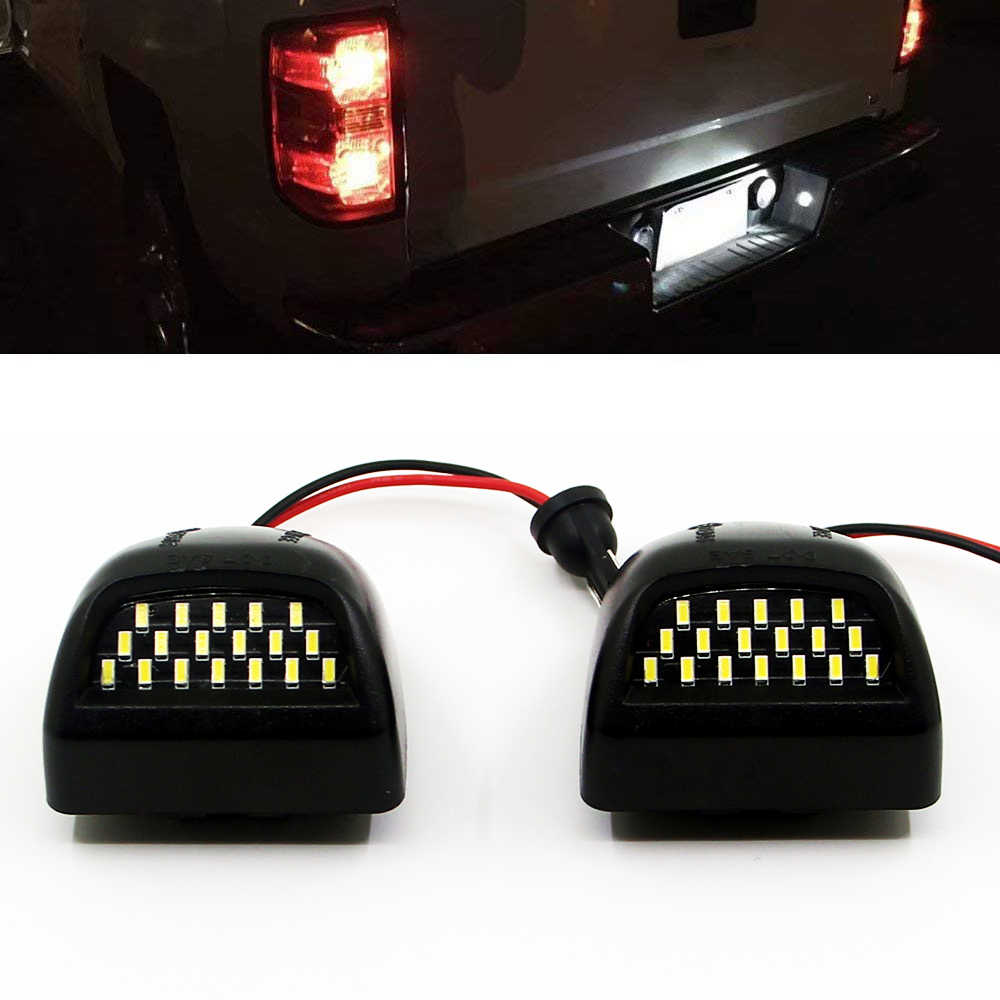 2Pcs LED Number License Plate Light Lamp Assembly for Chevy Silverado Avalanche 1500 2500HD GMC Sierra Pickup