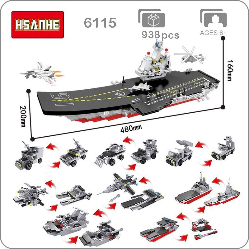 HSANHE 6115 armée militaire 17-en-1 armée grand navire de guerre bateau hélicoptère avion réservoir bricolage blocs Mini jouet de construction fit Legoings pas de boîte