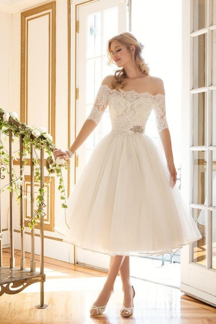 Tea Length Designer Wedding Dresses Fashion