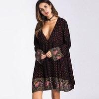 Aoniberer Sexy Dài Tay Bohemian Retro vintage Boho Dress Phụ Nữ Casual Loose Sâu V Cổ Hoa Ngắn 2018 Bãi Biển Mùa Thu ăn mặc