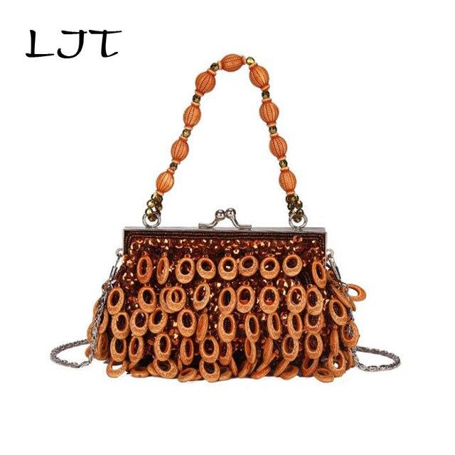 LJT 2019 Korean Woman Fashion Personality Button Street Trend Shoulder Slung Chain Bag Women Small Crossbody Clip Bag Clutches